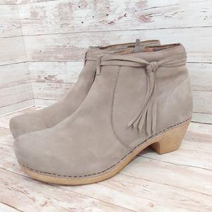 "Dansko ""markie"" grey nubuck clog ankle boots"
